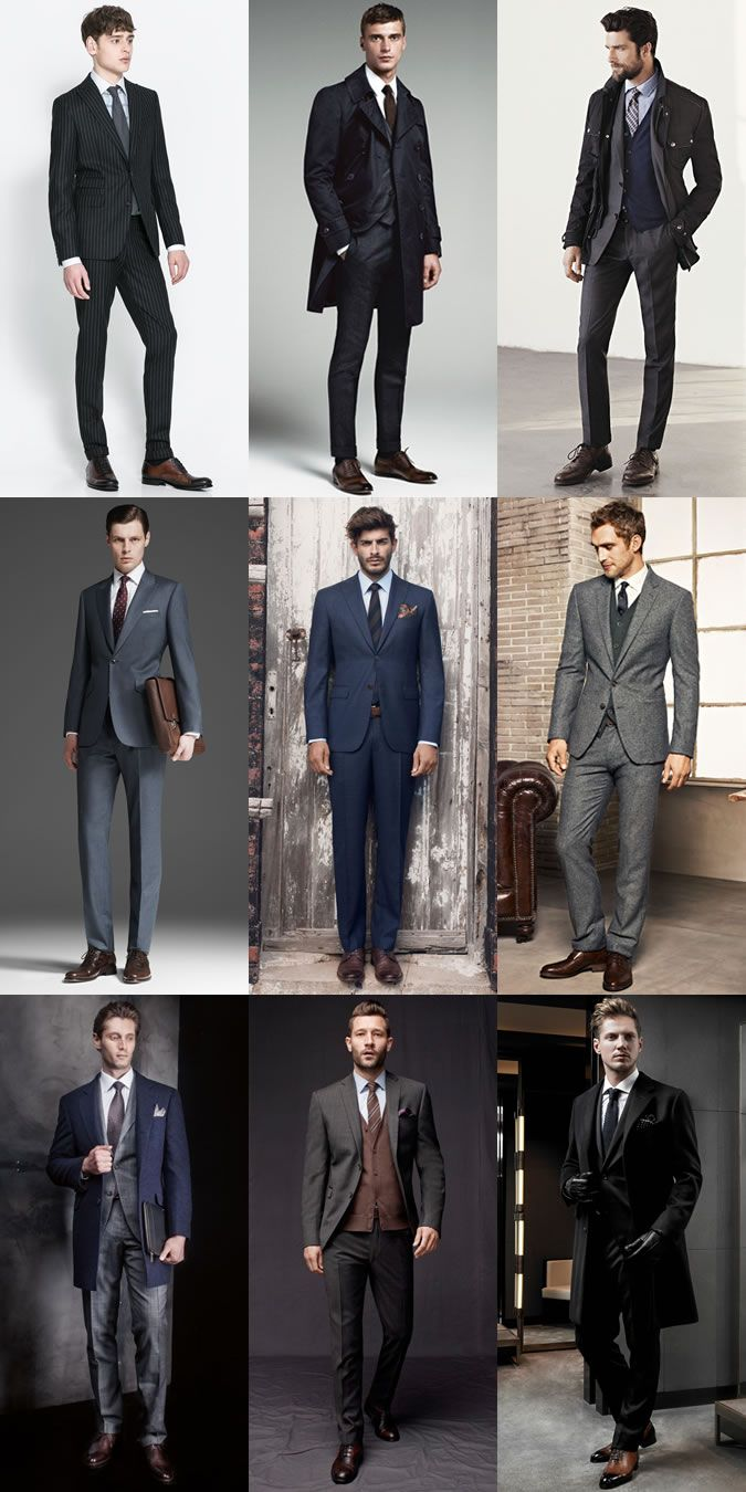Brown Shoes With Grey Navy And Black Suits Outfit