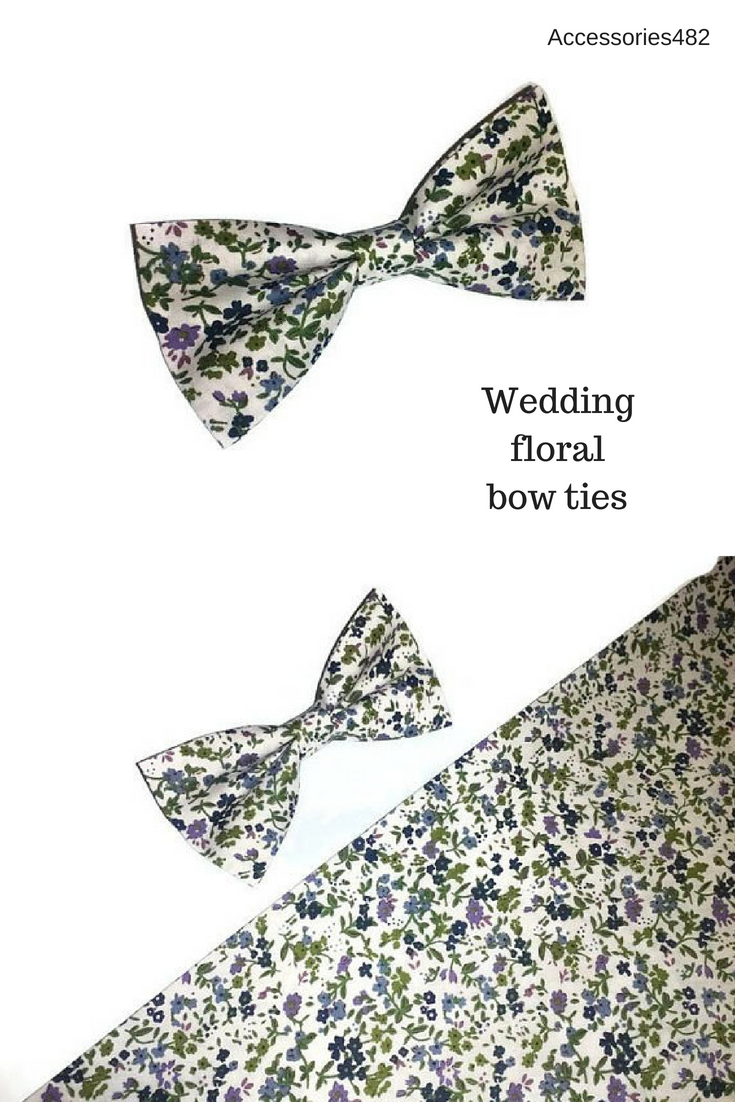 10199d9ddc09 wedding floral bow tie white hunter green purple vilet tiny blossoms bow  ties for groom, groomsmen, ring bearer, baby boys, men, toddler