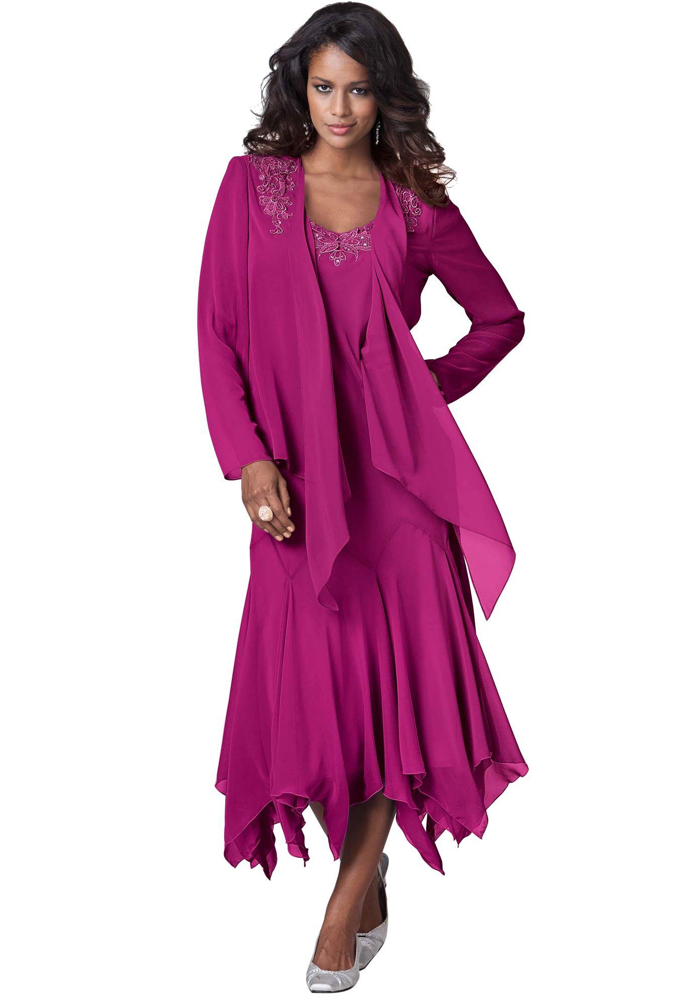 Plus size jacket dress for wedding  Beaded Hankie Hem Fit u Flare Jacket Dress  Plus Size Wedding