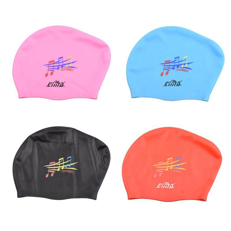 bde8884fdf8 Waterproof Adults Swimming Caps Women Long Hair Swim Cap Diving Hats Extra  Large Size Music Natacion