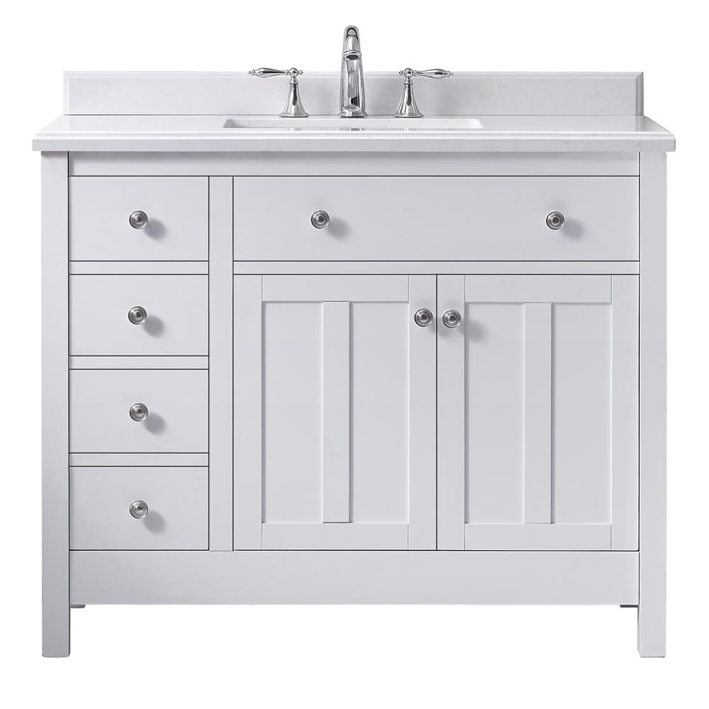 Ove Decors Newcastle 42 In W X 21 In D Vanity In Pure White With Cultured Marble Vanity Top In Whit Marble Vanity Tops Single Bathroom Vanity Bathroom Vanity