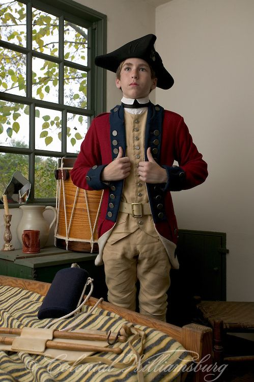 """Drummer dressing in his bedroom in Colonial Williamsburg, Virginia - """"It doesn't matter which side you are on - once you put on your uniform and take up your weapon, you know there is no going back. You are going to war. And you can only pray that you will not do something you will regret for the rest of your life."""" """"I am already starting to regret."""""""