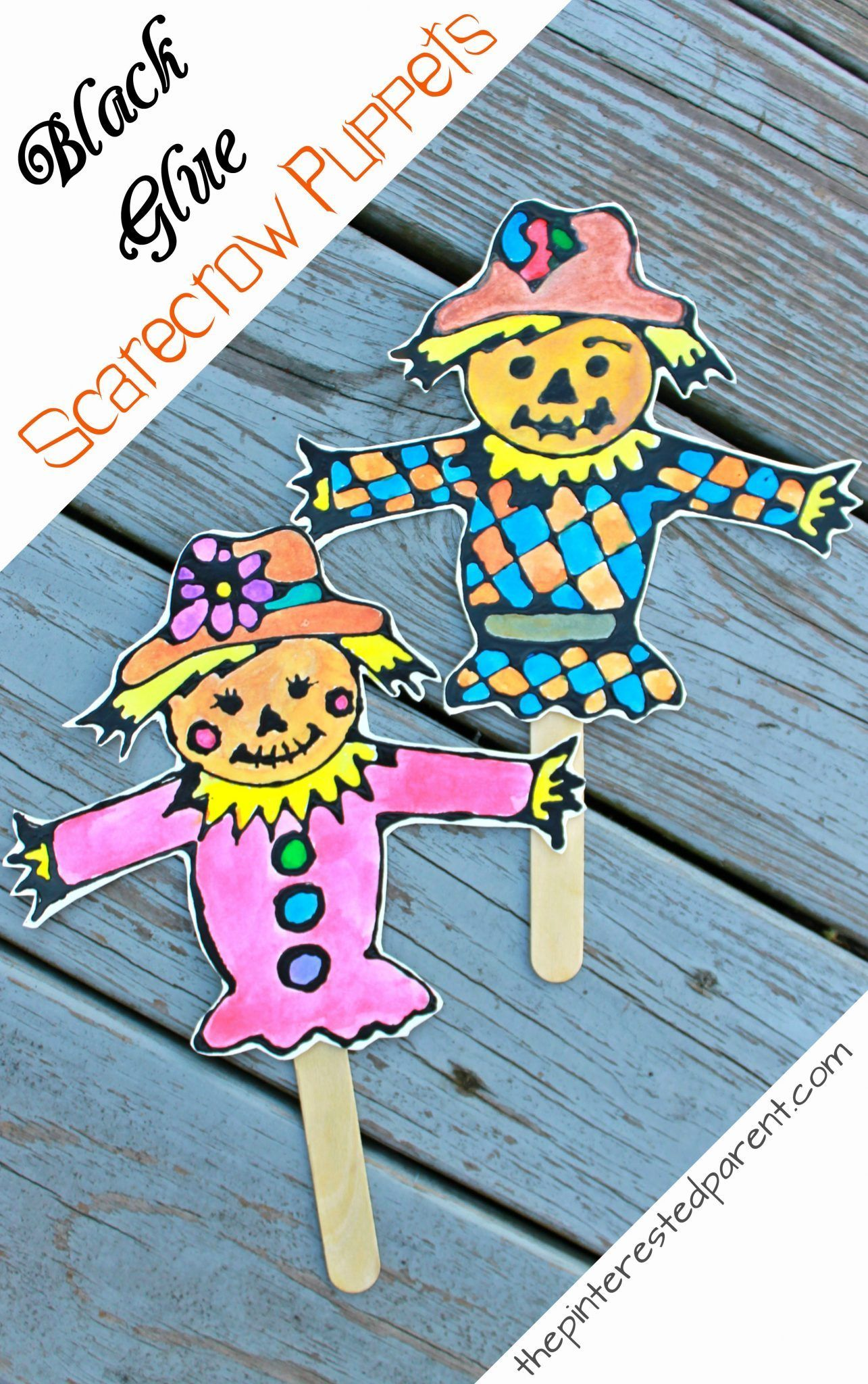 Black glue and watercolor scarecrow puppets with printable template ...