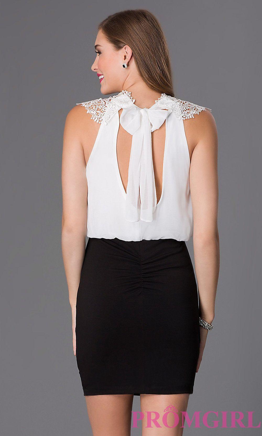 Short lace high neck dress by emerald sundae