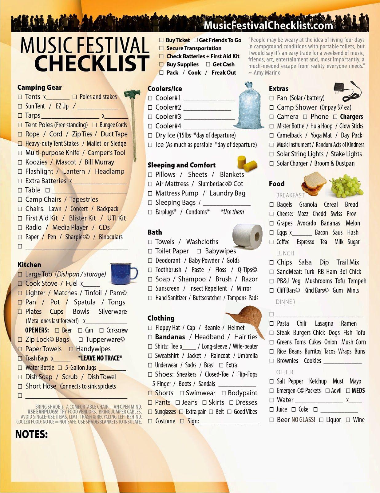 Music Festival Checklist Music Festival Checklist
