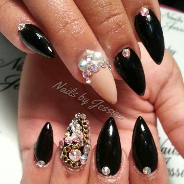 Black and diamonds nails | Nail art.. | Pinterest | Diamond nails ...