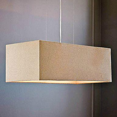 Pingente luz 60W acrílico com 3 luzes e sombra Tecido Praça – BRL R$ 625,95
