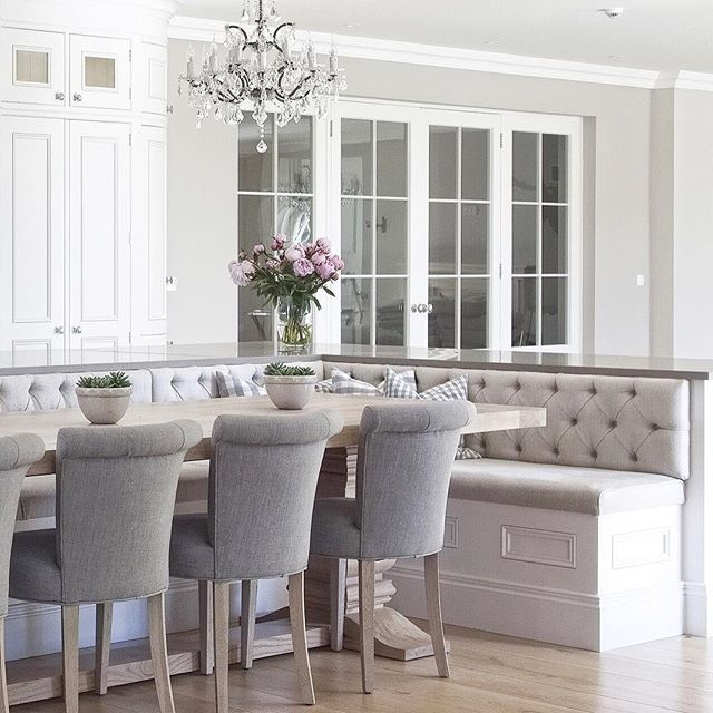 Curved Cabinetry, Triple Buttoned Banquette Seating And