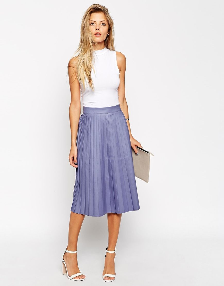 ASOS Midi Skirt with Coated Pleats at asos.com ...