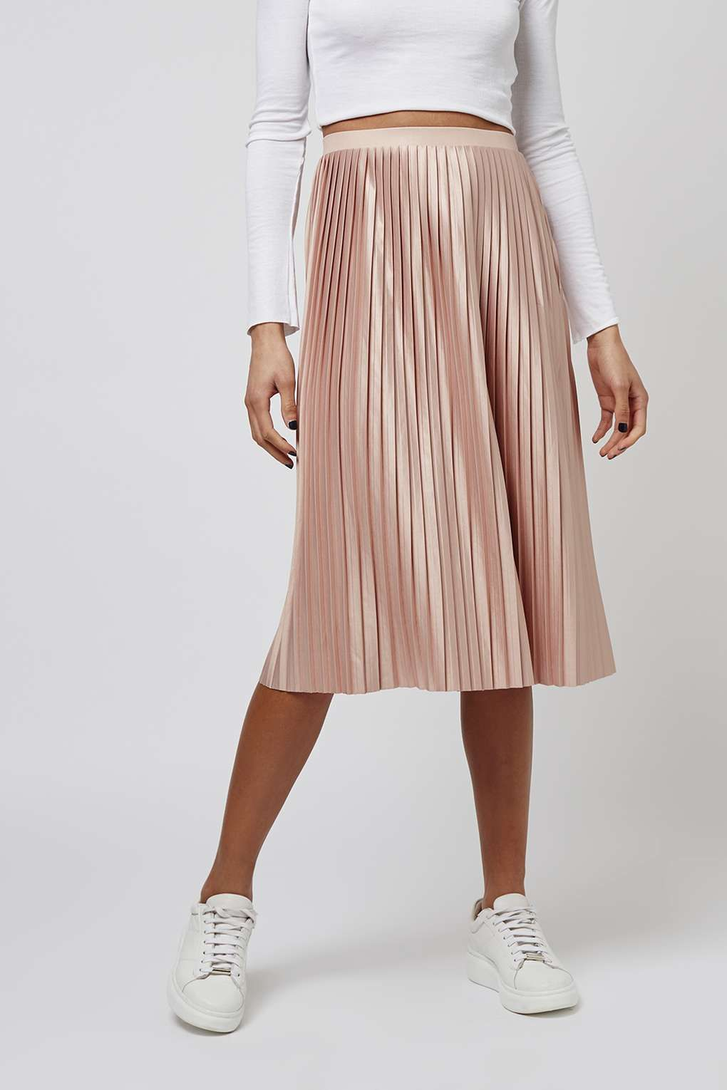 2aa15b88630 Jersey Pleated Midi Skirt - Topshop