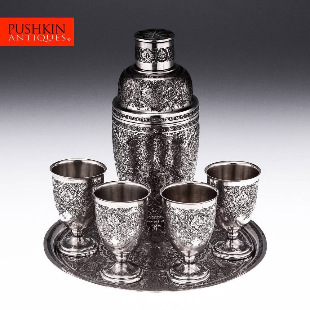ANTIQUE 20thC PERSIAN SOLID SILVER COCKTAIL SHAKER & GOBLETS ON A TRAY c.1920