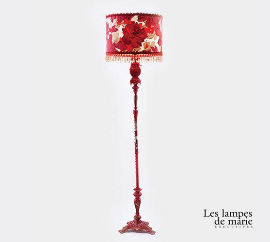 lampe-pied-fleurs-rouge | lampe | Pinterest | Fleurs rouges, Lampes ...
