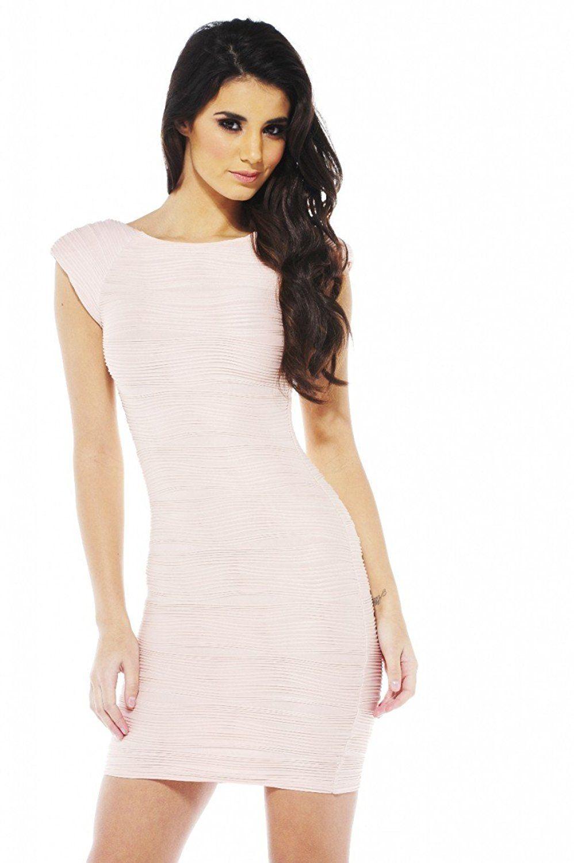 Ripple Bodycon Dress - Ax Paris - Nude - Party Dresses