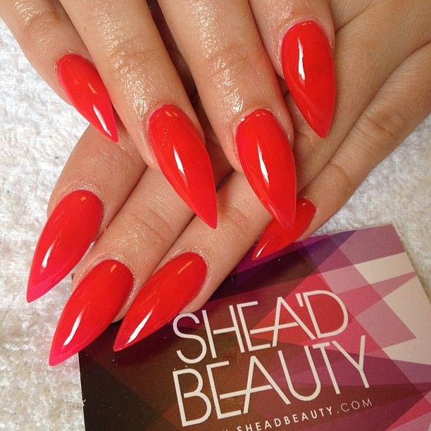 Red Nails With Images Bright Red Nails Red Stiletto Nails