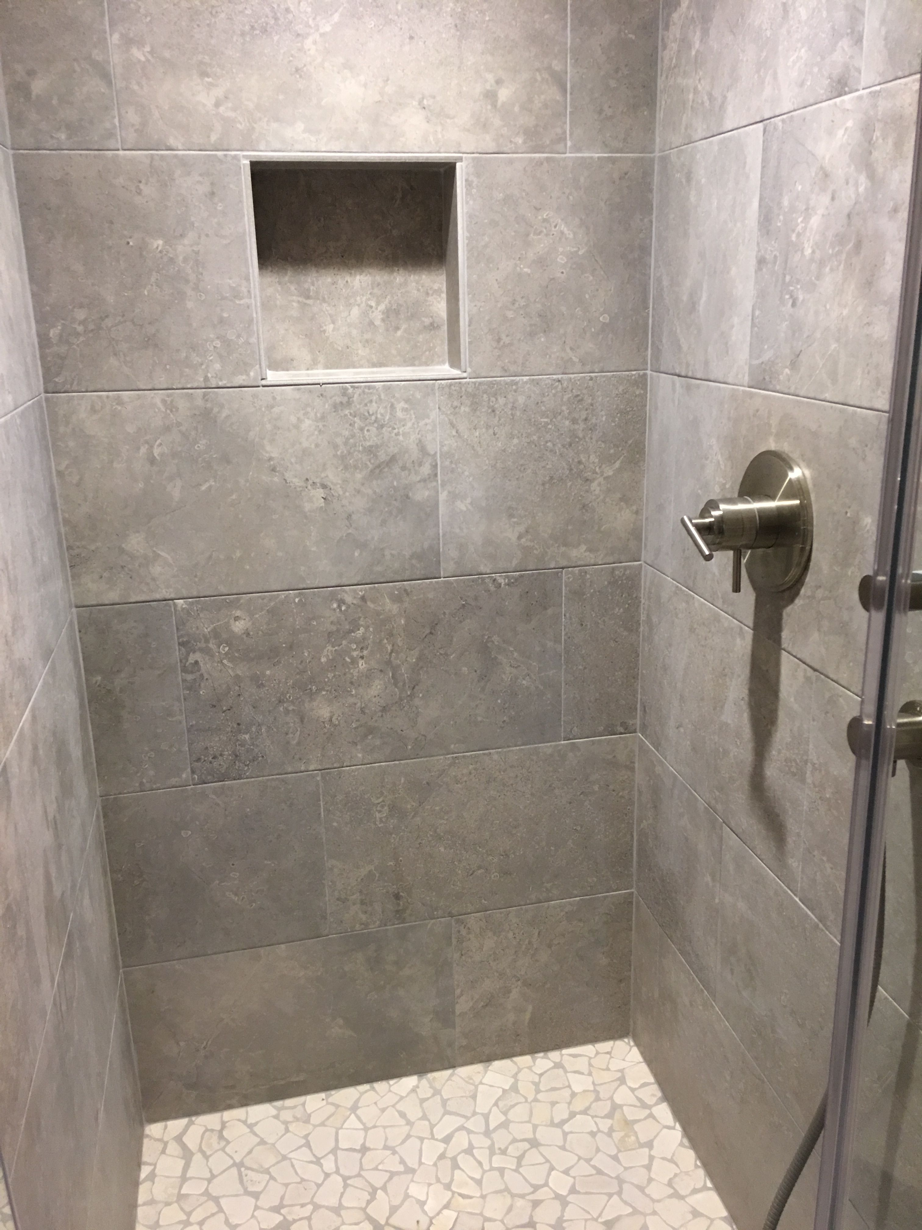 This Is The Finished Shower With Tiles From Lowes Floor Tiles