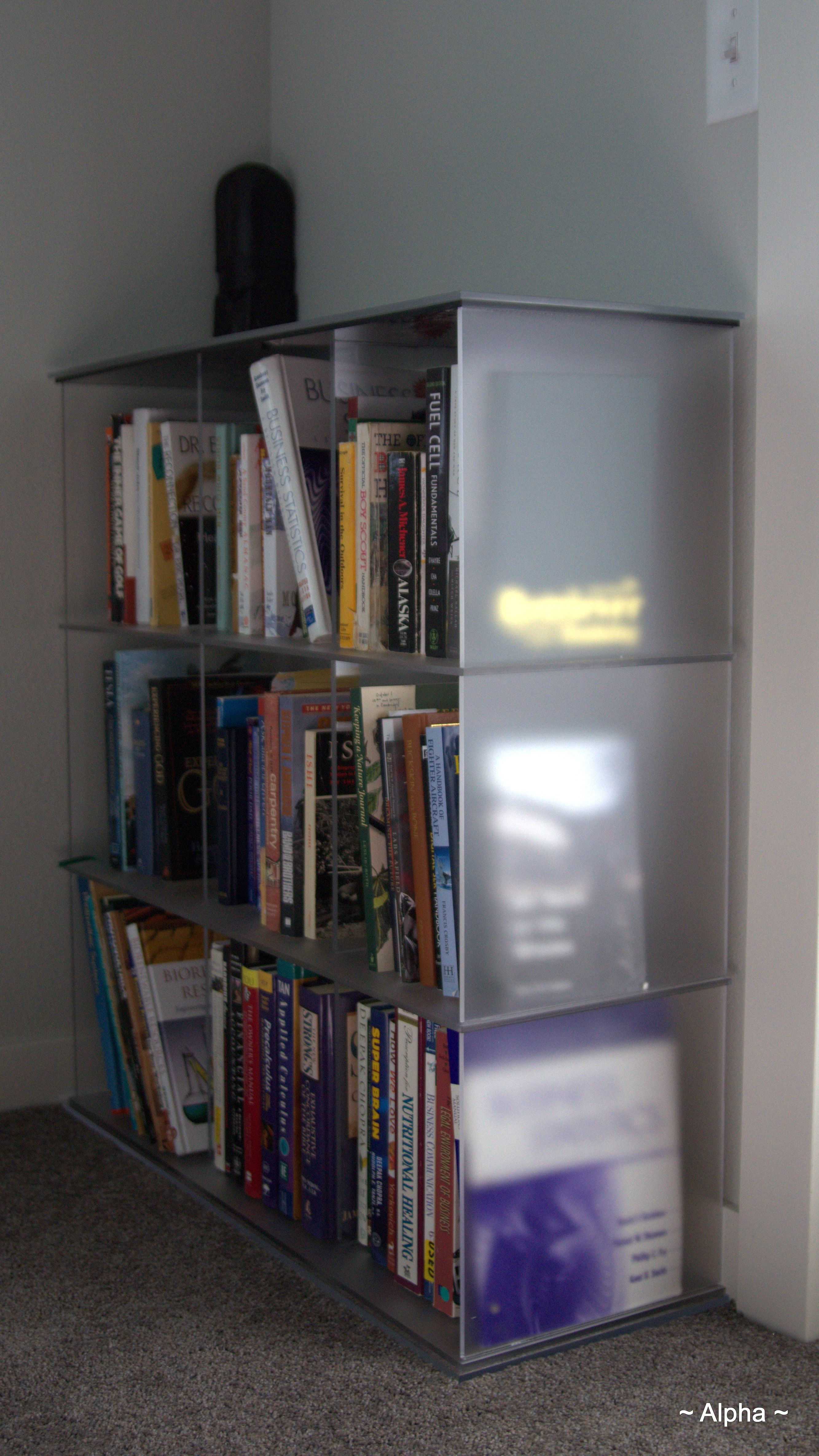 This Modern Bookcase Incorporates Frosted Acrylic Obsidian Black Glass And Clear Elements