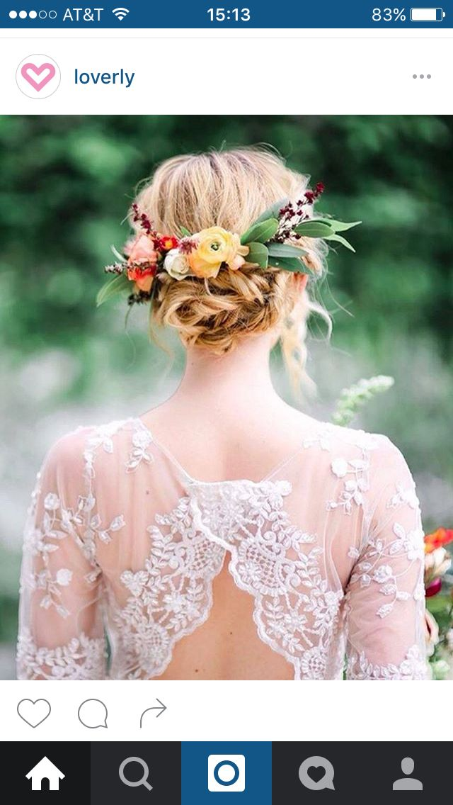 Hair all up but with lace barrette and not flowers