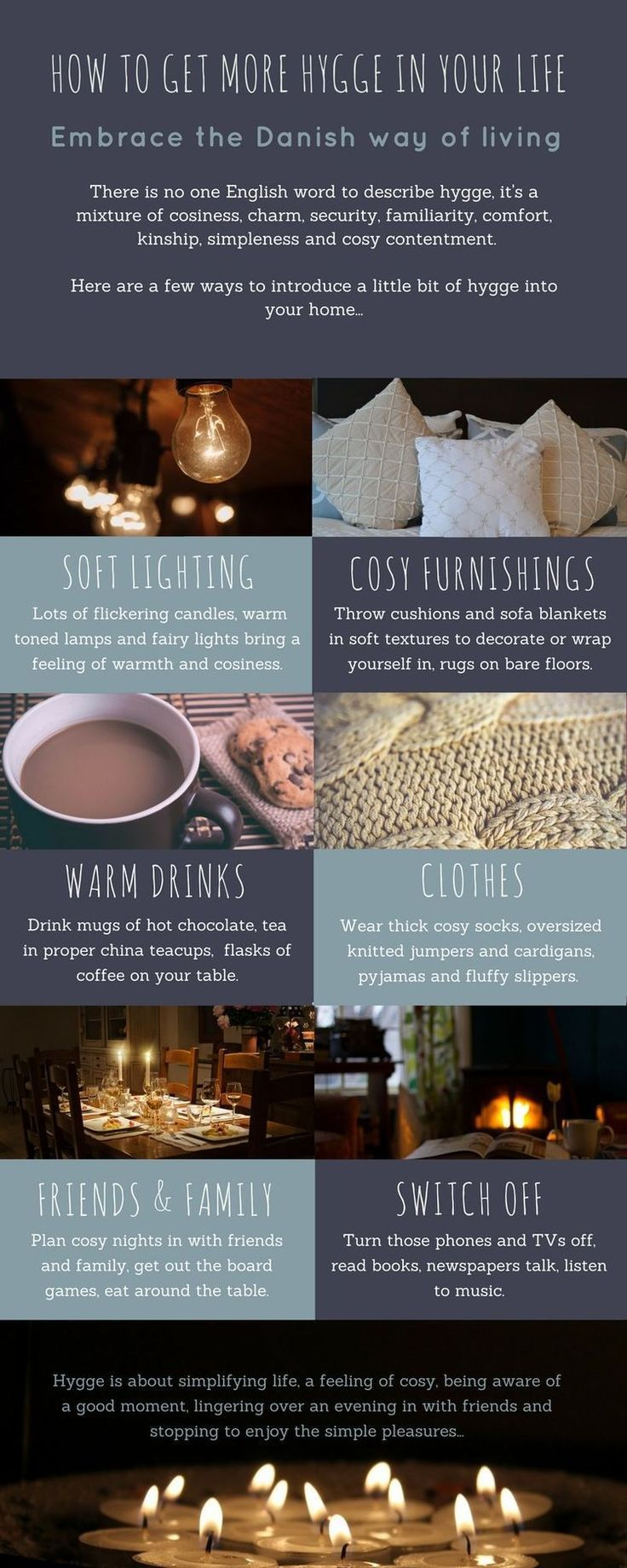 Why you need 'hygge' in your life...and how to find it! Come and find out some more about hygge and how to get a bit more into your life! Infographic to show you how to begin to create some hygge in your home and life.