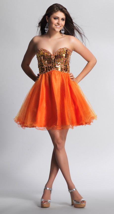 Short Coctail Dresses Prom Orange