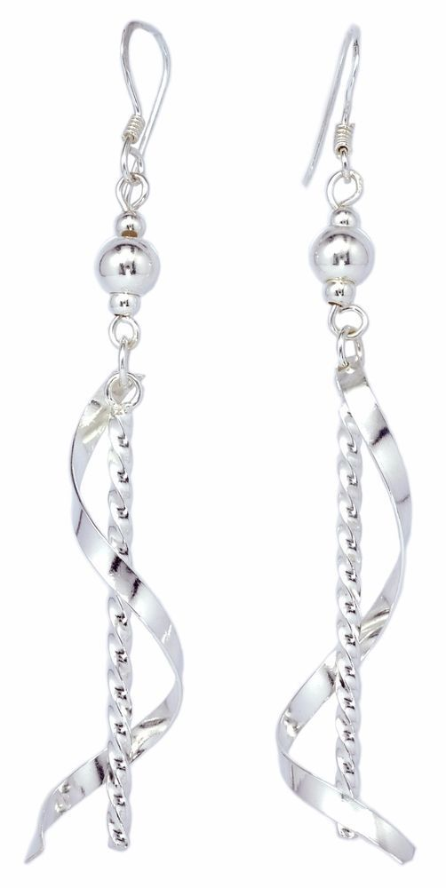 Stick Twist Drop Roll On 925 Sterling Silver Dangle Earrings For Women Ise0042 Bkgjewelry Dropdangle