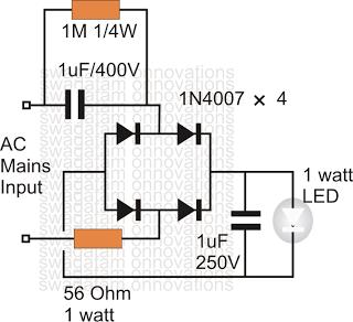 Simplest 1 Watt LED Driver Circuit at 220V/110V Mains Voltage ...