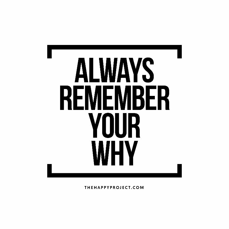 Your why is your purpose. Your why gives meaning to your life. Your why  motivates you. Always remember your why.   Why quotes, Remember why you  started, Cool words