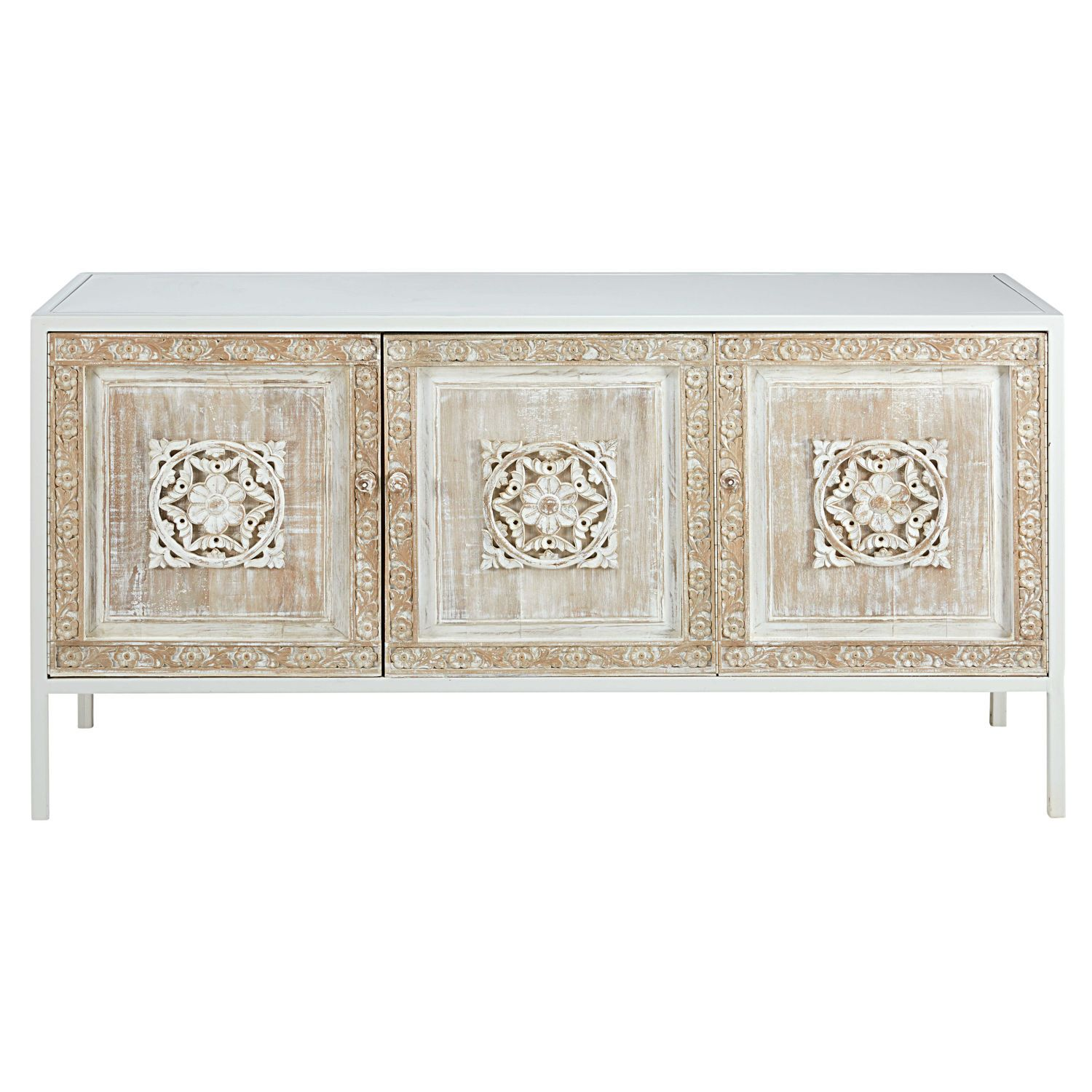 Buffet 3 Portes En Metal Blanc Et Manguier Sculpte Maisons Du Monde Carved Doors Sideboard Solid Mango Wood