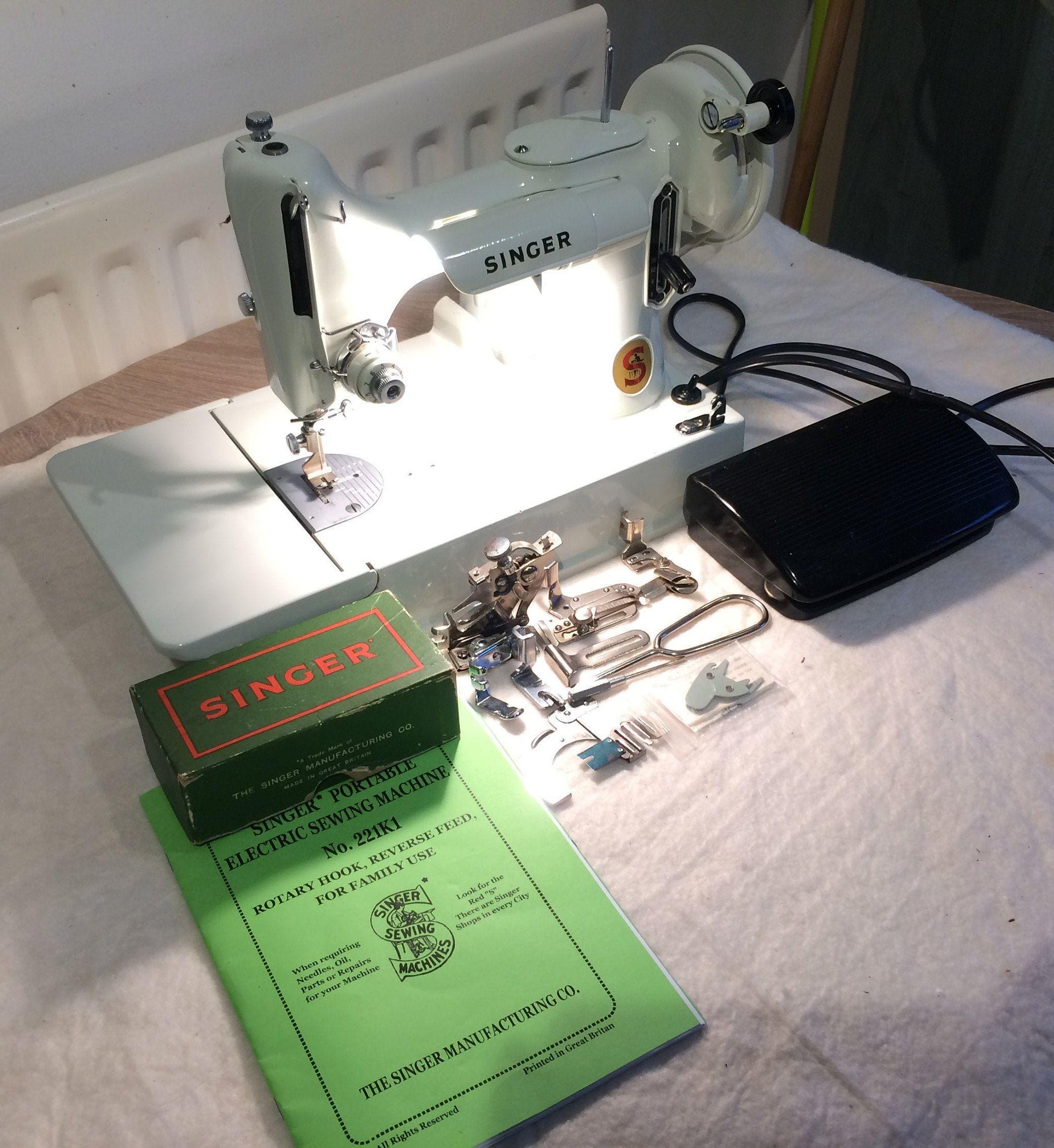 Antique White Singer 221k Featherweight Sewing Machine