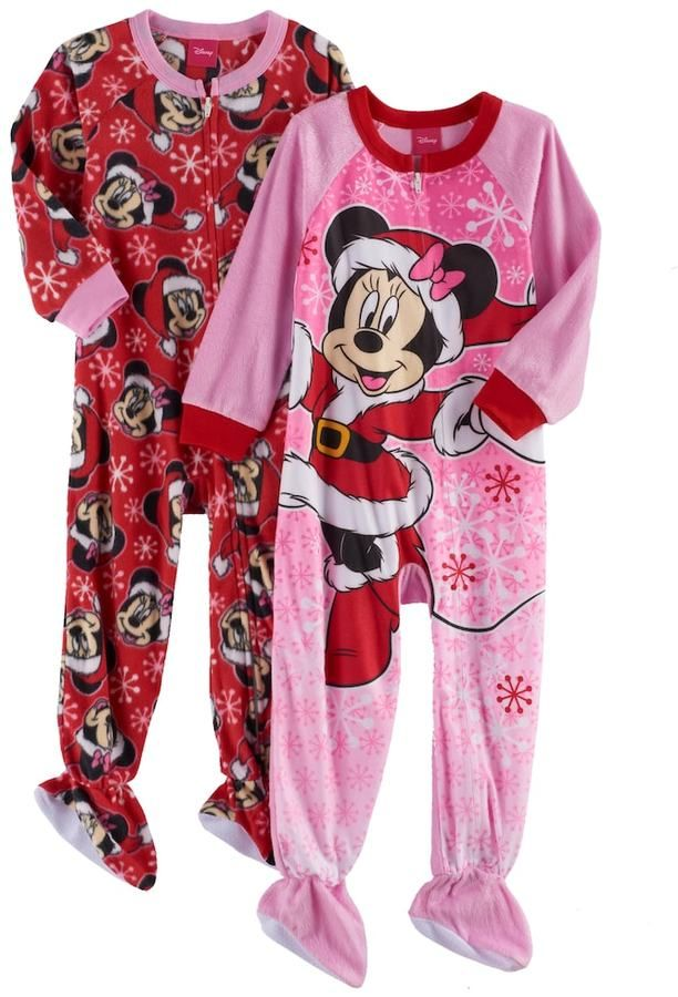 6a865680f Disney s Minnie Mouse Toddler Girl 2-pk. Christmas Fleece Footed ...