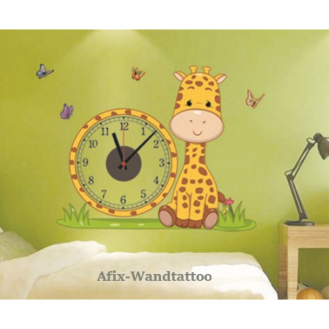 kinderzimmer wandtattoo giraffe mit uhr wanduhr children s place. Black Bedroom Furniture Sets. Home Design Ideas