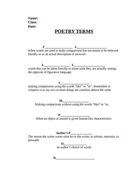 poetry notes worksheet 6th grade ela poetry worksheets notes. Black Bedroom Furniture Sets. Home Design Ideas