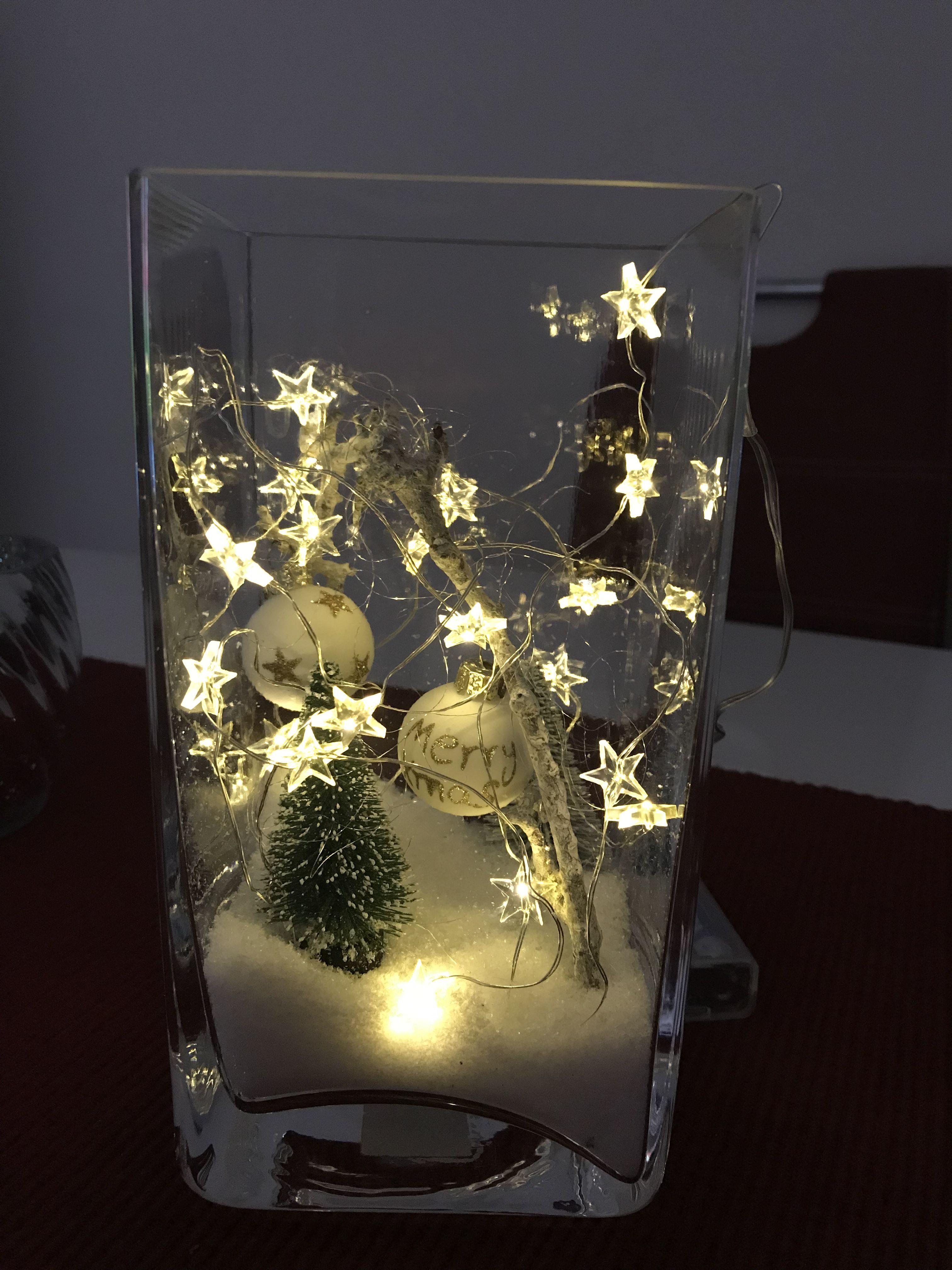 Kerstverlichting In Vaas Weihnachtendekorationtischdekoration Kerstverlichting In Vaas Weihnachten Dekoration Weihnachtsdeko Deko Weihnachtsdekoration