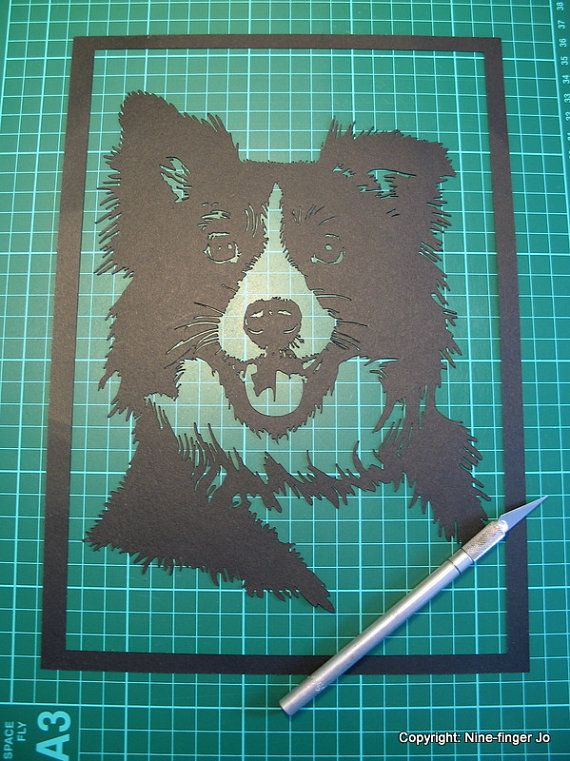 Custom Pet Portrait A4 Custom Papercut Pet Por NineFingerJo Mosaics Paper Cutting Templates