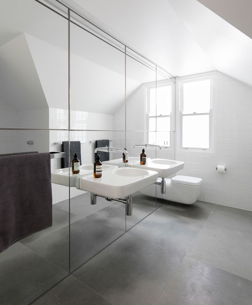 Bathroom Tiles Sydney Bathroom Large Matt Charcoal Grey Floor Tiles Mirrored Wall