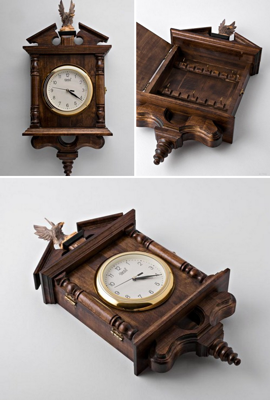 Decorative Key Box For The Wall Wooden Clock Key Boxwooden Decoration  Decorative Boxes