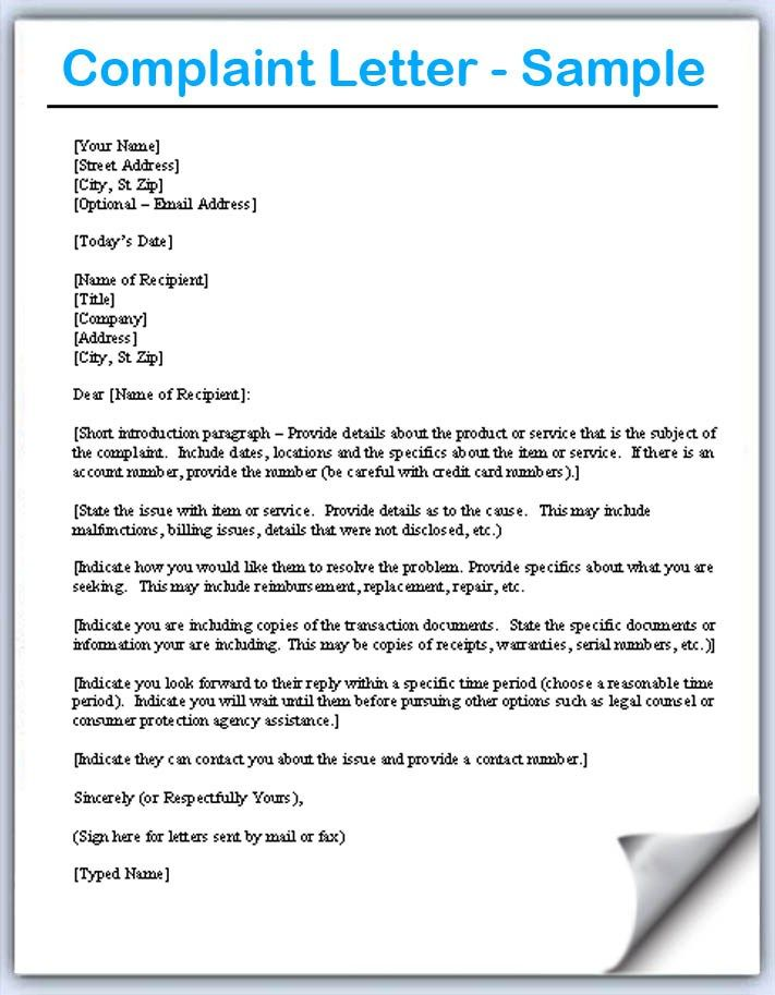 complaint letter samples writing professional letters claim sample - formal letter complaint sample