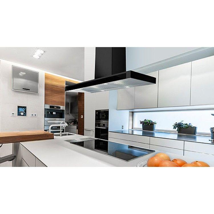 90cm Island Kitchen Extractor Hoods Glass Front Panel Black