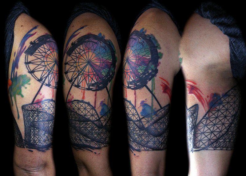 farris wheel abstract tattoo