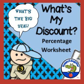 Figuring Percents - What\u0027s My Discount Worksheet