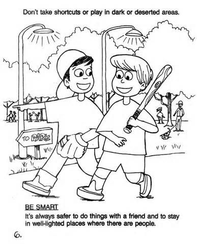 Stranger danger coloring pages #6. Walk in bright places