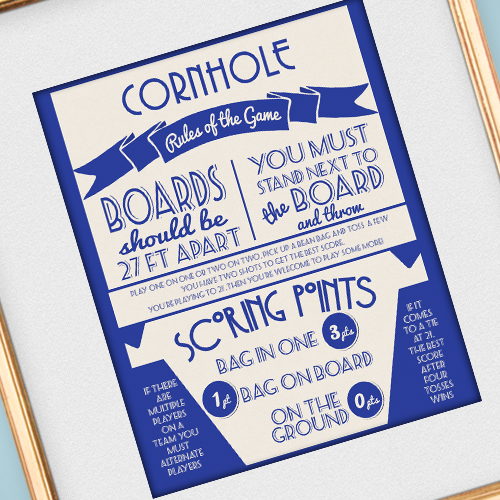photo regarding Printable Cornhole Rules named Get together Printables cornhole match Backyard garden get together video games