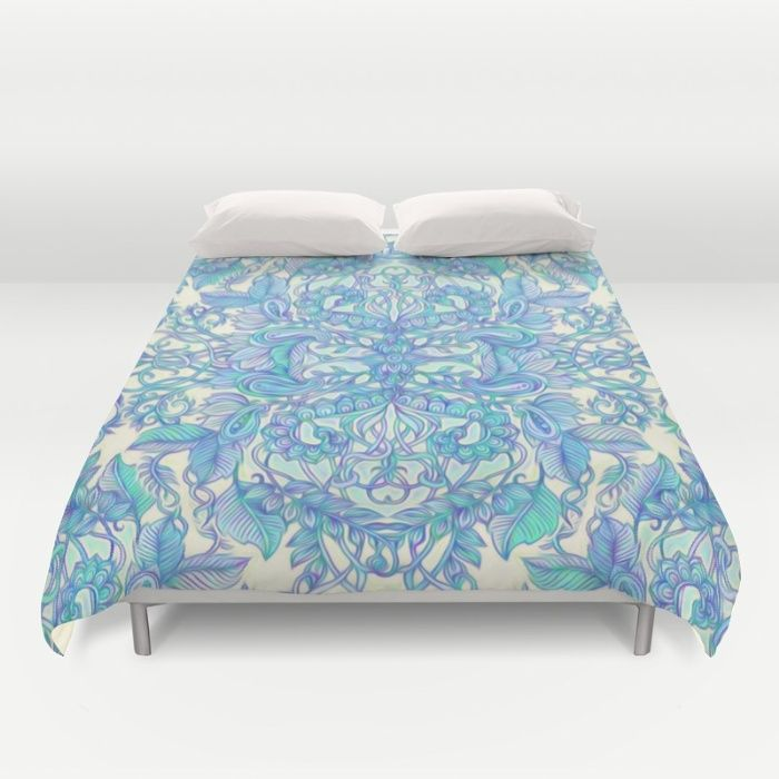 Lilac Mint Aqua Art Nouveau Pattern Duvet Cover By Micklyn Society6