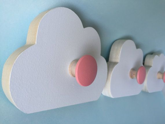 Cloud Wall Hooks Room Decor  Coral Pink  Kids by MapleShadeKids