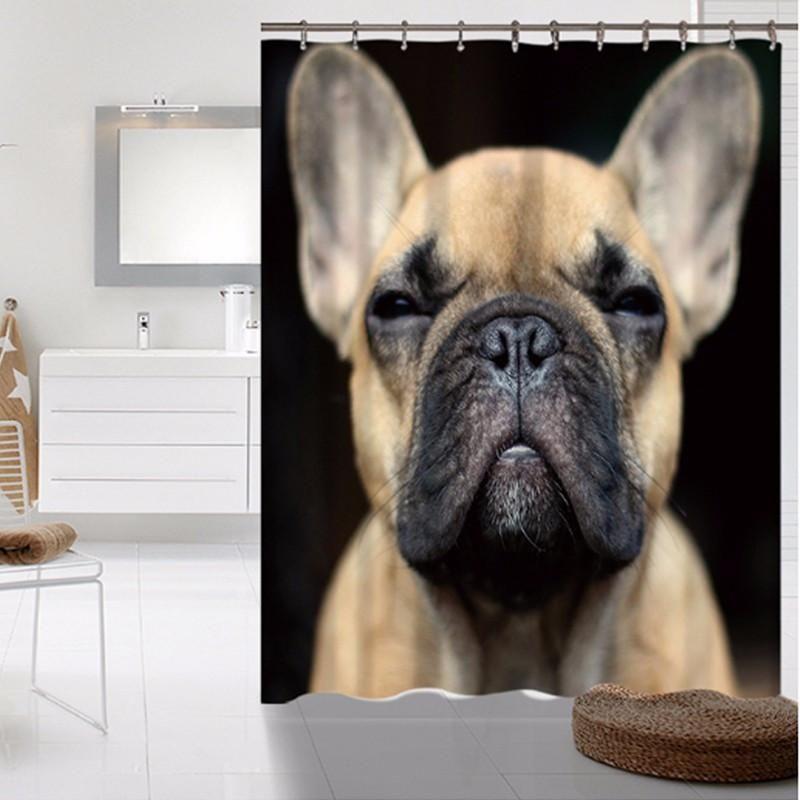 Bathroom Pet Dog Series Bulldogs Shower Curtains Do Not Fade