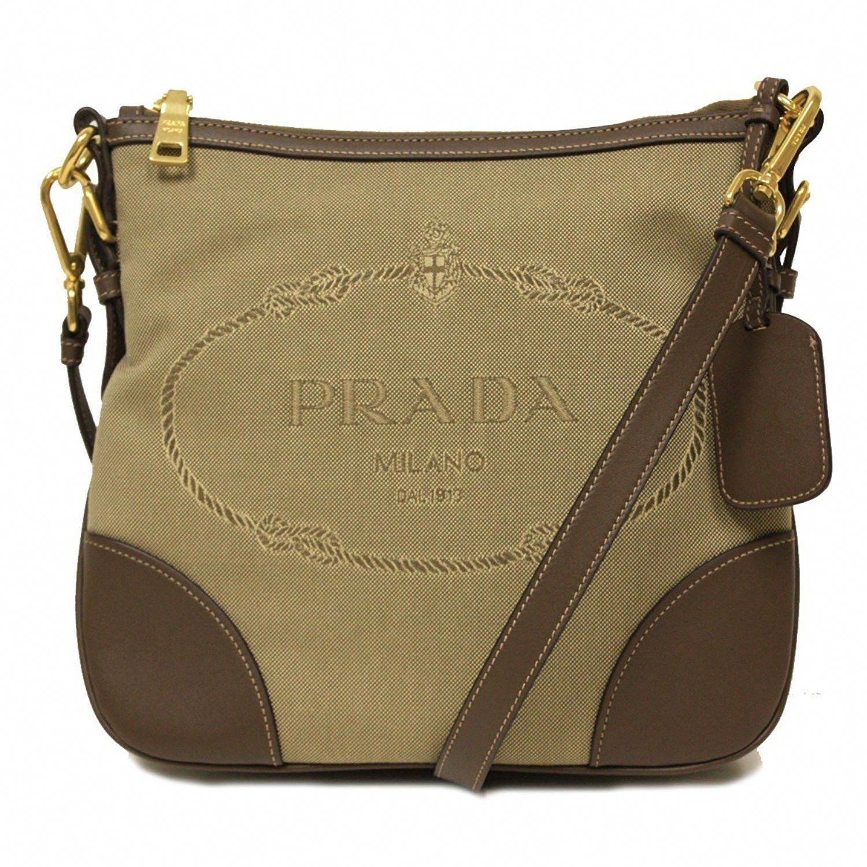 3da6419916f0 Prada Brown Leather and Canvas Corda Bruciato Crossbody Messenger Bag  BT867A #Pradahandbags