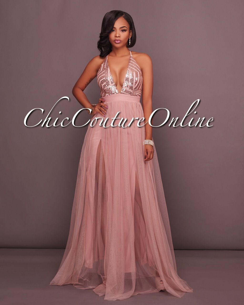 Madrina Dusty Blush Tulle Rose Gold Sequins Maxi Dress | Pinterest ...