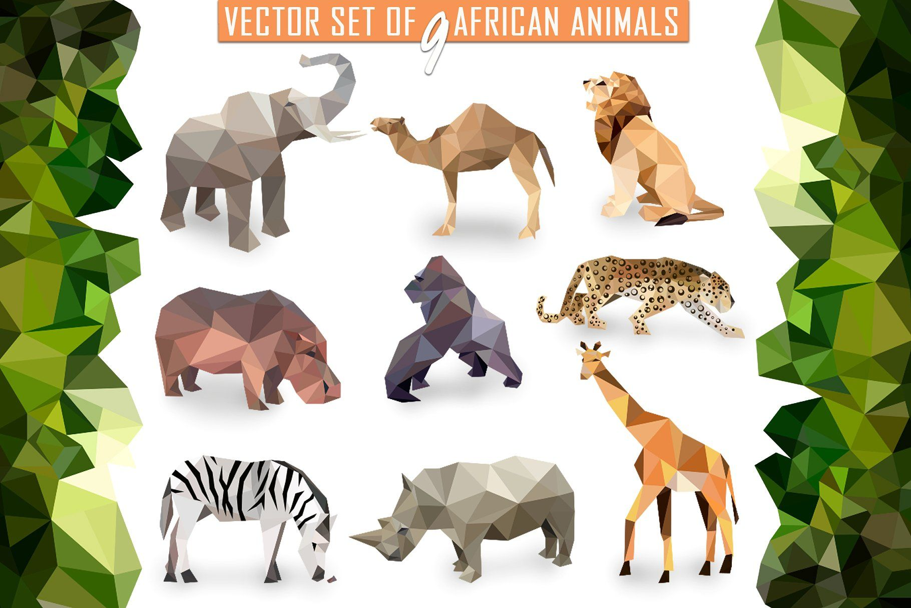 Vector Set Of African Animals Icons Animal Icon African Animals Jungle Illustration