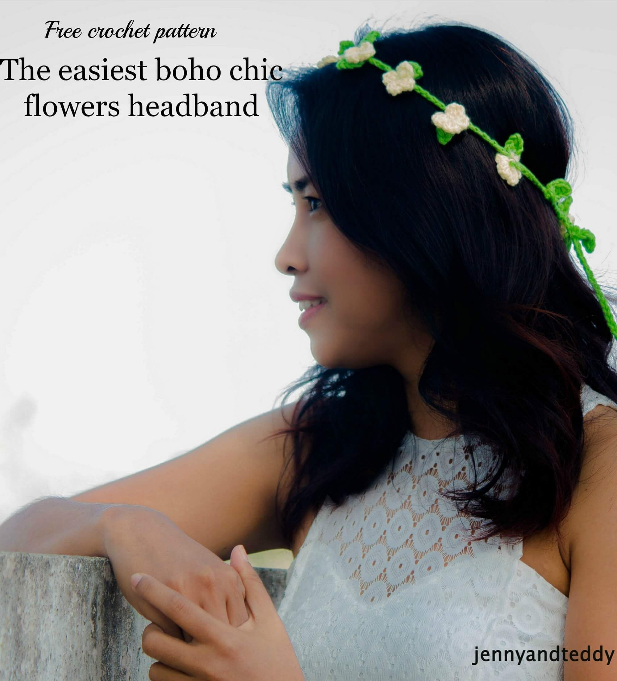 free crochet pattern the easiest boho chic flowers headband ...