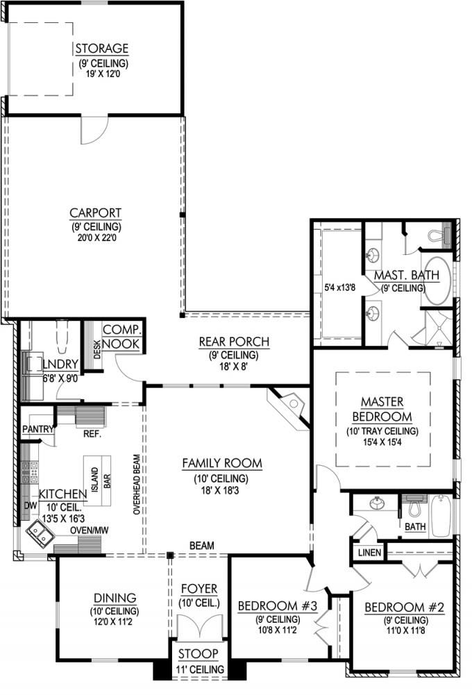 653644 3 bedroom open plan with large kitchen and for Window floor plan