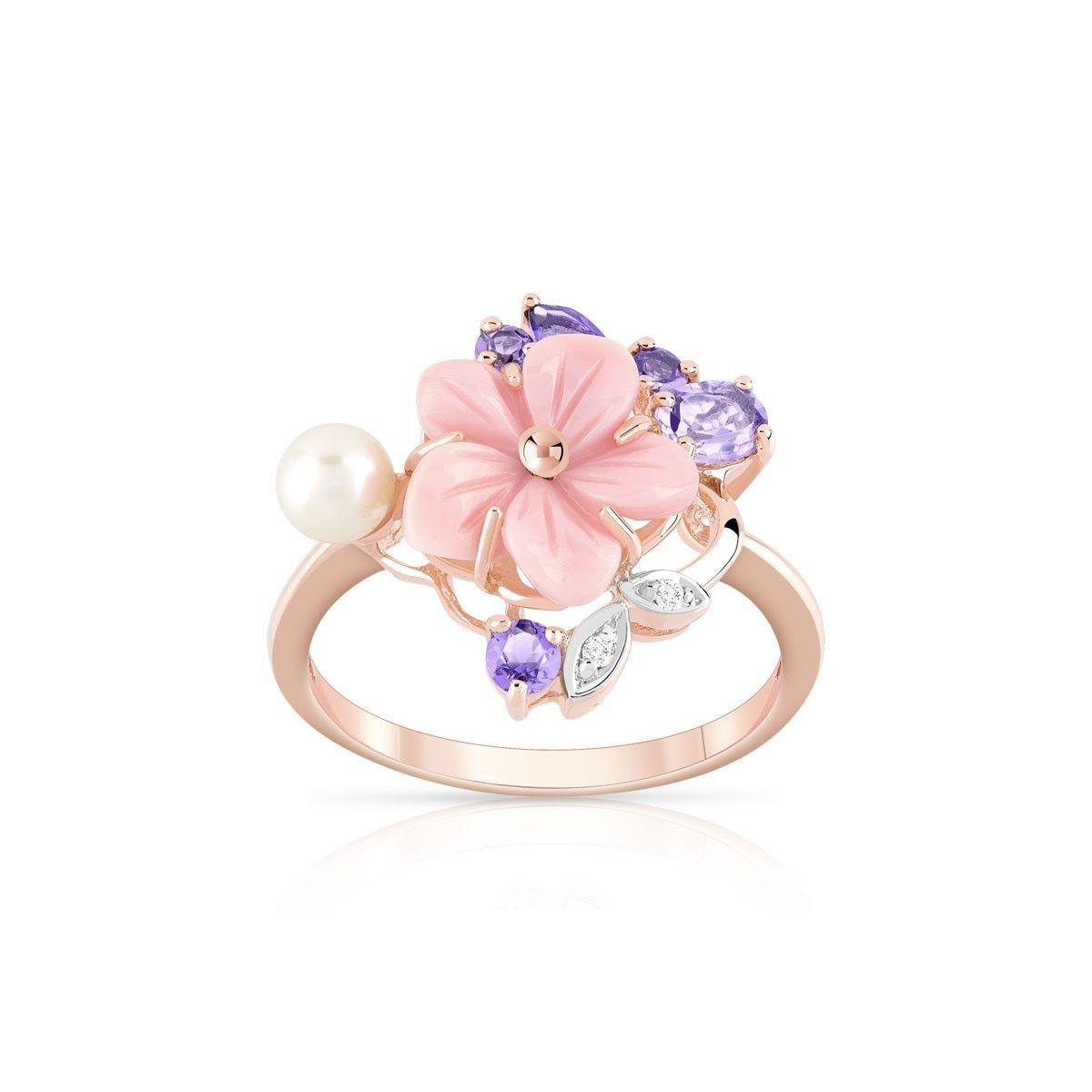 bague or 375 rose morganite et diamant